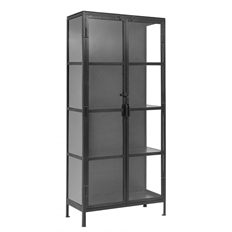 Nordal sort cabinet, 2 doors, iron/glass H175 x B80 x D35cm