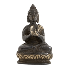 buddha figur lille sort messing H7cm Nordal
