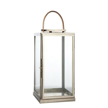 Rustfri lanterne Medium med læderhåndtag til terrassen