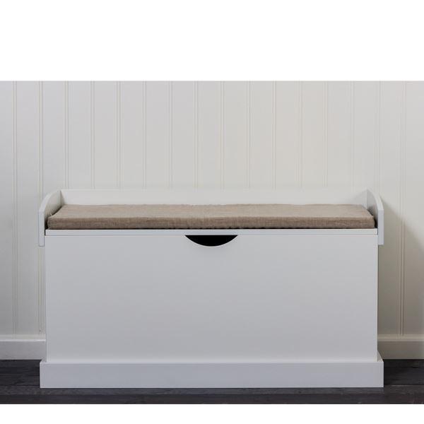 bænk med opbevaring Bænk til opbevaring madison hvid fra Zanz Furniture bænk med opbevaring